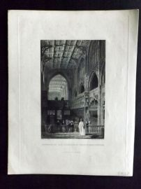 After Allom 1846 Antique Print. Interior of the Collegiate Church, Manchester